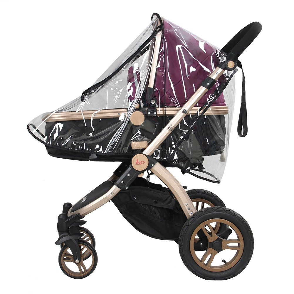 Baby Stroller Rain Cover, Universal Pram Accessory Front Opening Rain Cover PVC Transparent Waterproof Wind Rain Weather Shield Protector