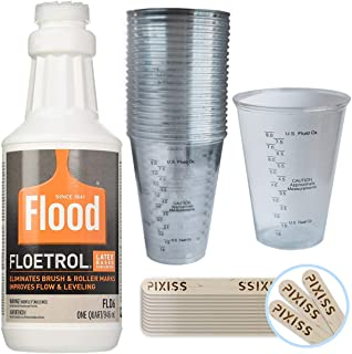 1 Quart Flood Floetrol Additive, 20x 10-Ounce Disposable Graduated Clear Plastic Cups for Mixing Paint, Stain, Epoxy, Resin, 20x 6-inch Pixiss Wood Mixing Sticks