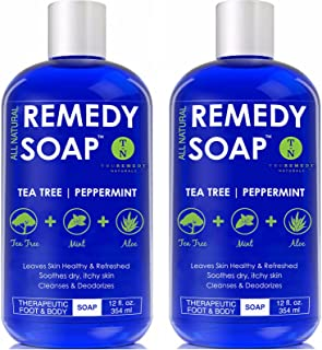 Remedy Soap Pack of 2, Helps Wash Away Body Odor, Soothe Athlete's Foot, Ringworm, Jock Itch, Yeast Infections and Skin Ir...