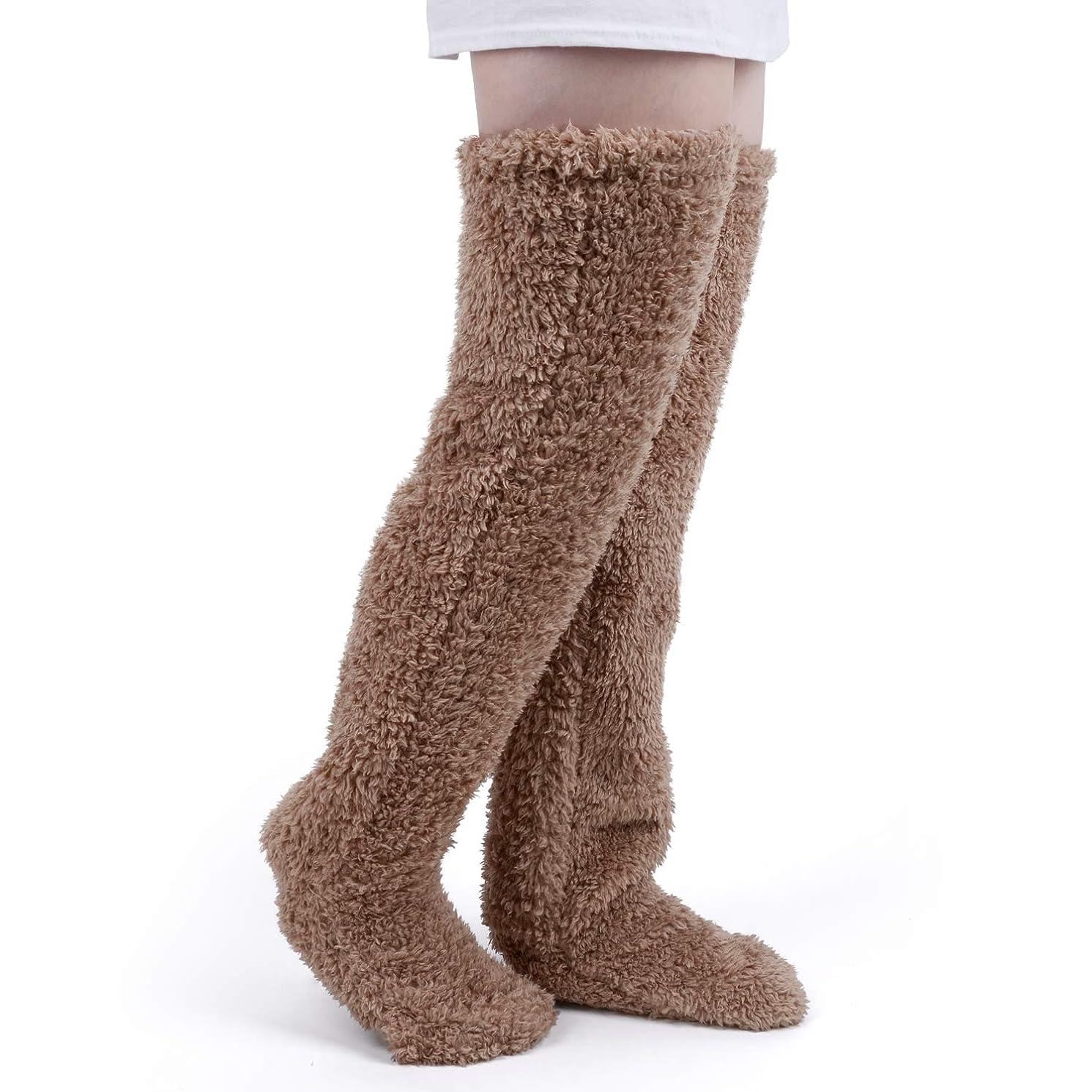 遷移レース保険をかける極暖 足が出せるロングカバー HIMETSUYA ルームシューズ ルームソックス あったかグッズ ロングカバー 冷え性 靴下 ソックス 足の大きさ23~26.5cmまで (茶褐色)