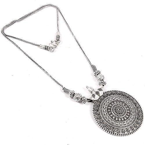 Foxiie Oxidised Jewellery Round Pendant for Girls & Women - Jewellery Gift