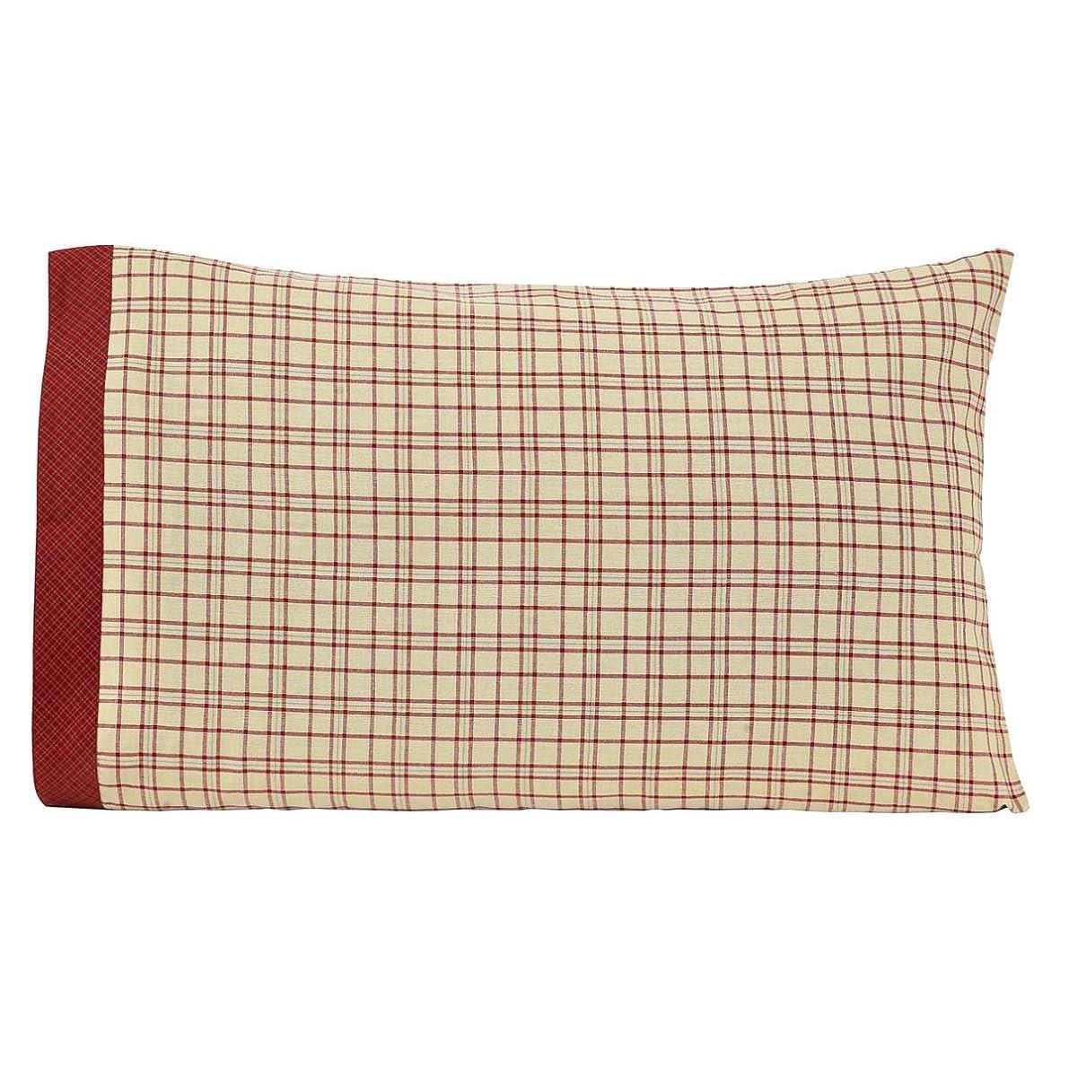 VHC Brands Rustic & Lodge Bedding Durango Cotton Plaid Pillow Case Set of 2, Standard, Creme White