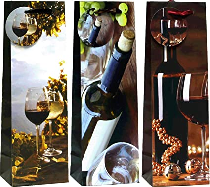 2 X MODERN FUNKY CLASSIC BOTTLE GIFT BAGS PRESENT PARTY BIRTHDAY WEDDING WINE