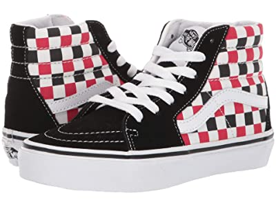 Vans Kids SK8-Hi (Little Kid/Big Kid) ((Checkerboard) Black/Racing Red) Boys Shoes