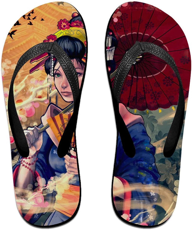 Yuhulam Unisex V Flip Flops Beautiful Japanese Geisha Personalized Summer Slipper