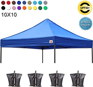 ABCCANOPY Replacement Top Cover 100% Waterproof (18+ Colors) 10x10 Pop Up Canopy Tent Top, Bonus 4 x Weight Bags (Royal Blue)