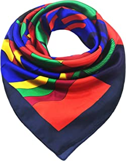 Women's Square Scarf 100% Polyester Silk Feeling, 33X33 Inch