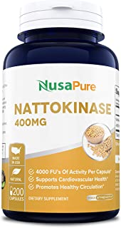 Nattokinase 400 mg 200 Capsules 4000 FU (Non-GMO & Gluten Free) Supports Cardiovascular Health, Natural Blood Thinner