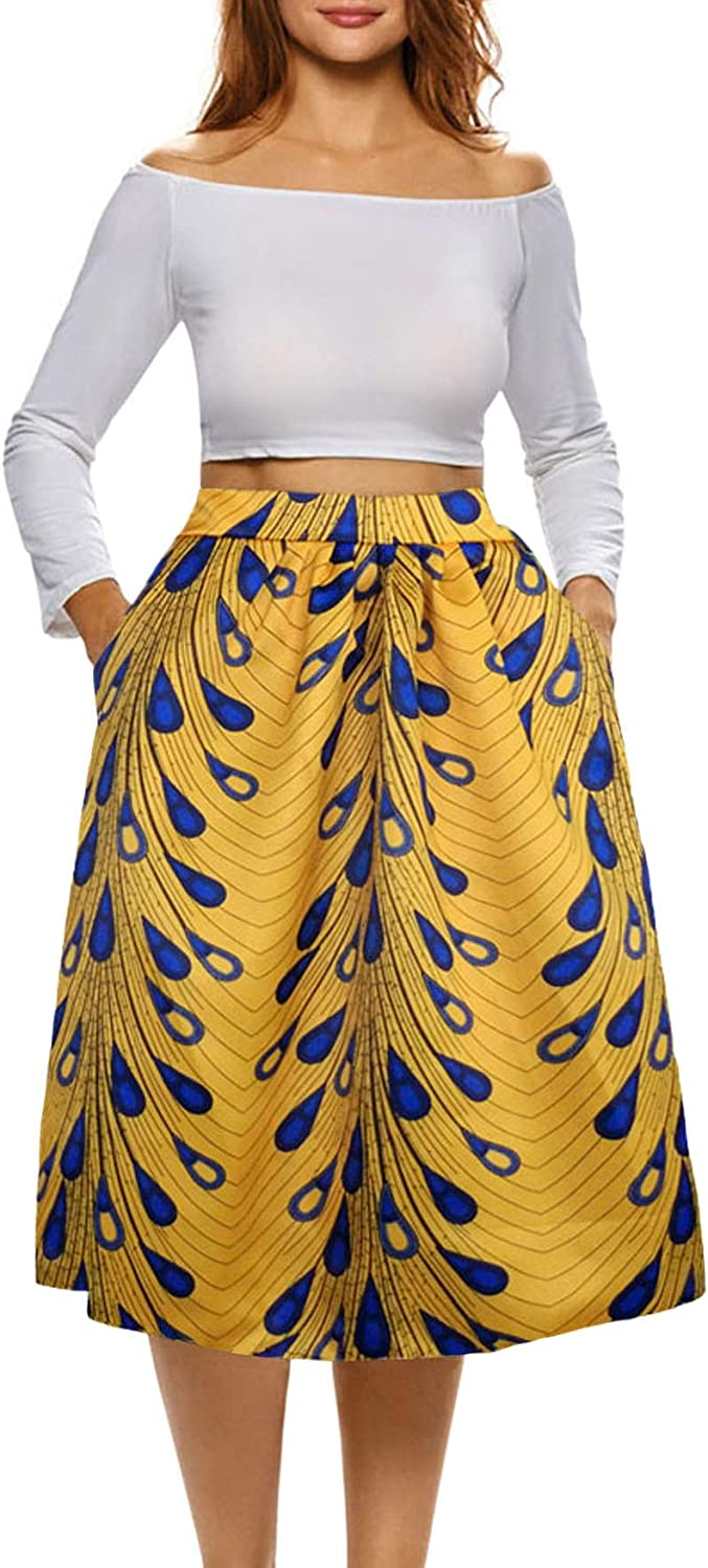 Sinono Women African Floral Print Skirt Pleated Midi Skirts with Pockets