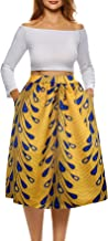 Sinono Women Floral Print Casual Skirt Pleated Vintage Skirts with Pockets
