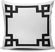 SALLEING Custom Fashion Home Decor Pillowcase Black and White Greek Key Border Euro Square Throw Pillow Cover Cushion Case 26x26 Inches One Sided Print