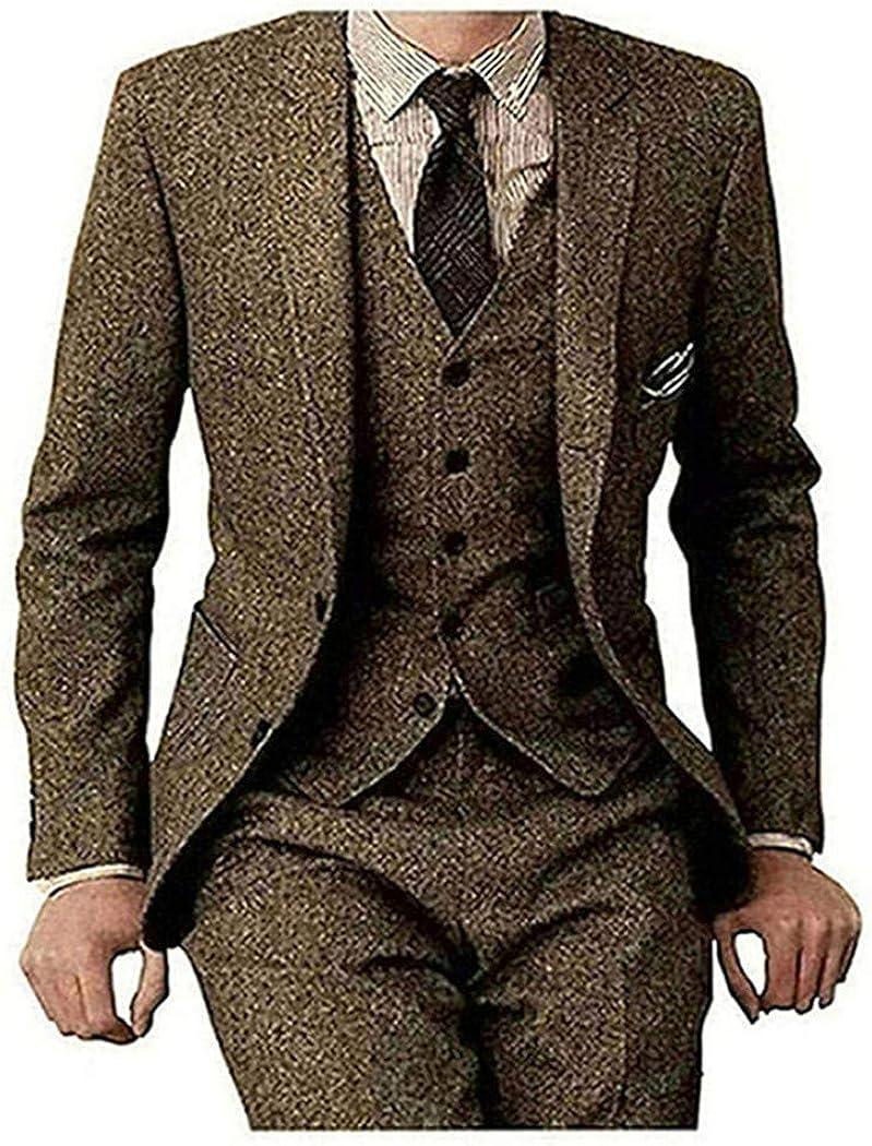 Men's Tweed Herringbone Slim Fit Brown Tan Tuxedos Groom Wedding Vintage 3 Pieces Suit