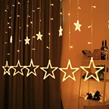 Hemito Star Curtain LED Light, 2.5m long, 8 Mode Remote, 12 Golden Stars with 138 LED Waterproof Linkable String LED Lights for home Decoration, Diwali Lights, Christmas Light, Birthday Light, Festival, Party LED light