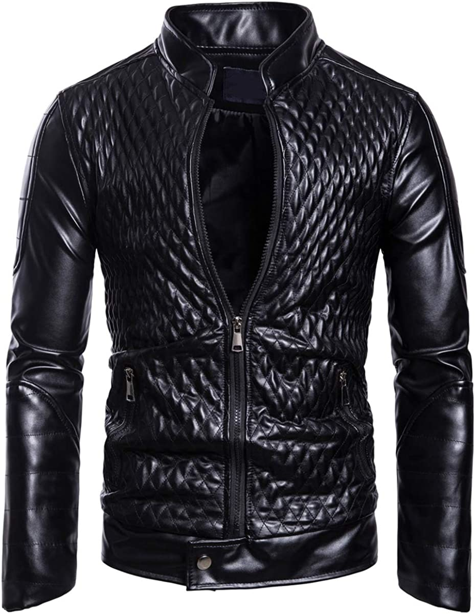 AOWOFS Men's Faux Leather Motorcycle Jacket Bomber Stand Collar Fashion Embossed Warm Coat