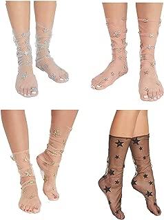 Womens 3 Pairs Stars Sparkle Ankle Socks Sheer Slouch Mesh Glitter Socks