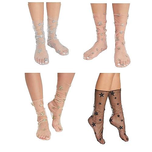 ec5caca7ba2 Yanekop Womens 3 Pairs Stars Sparkle Ankle Socks Sheer Slouch Mesh Glitter  Socks