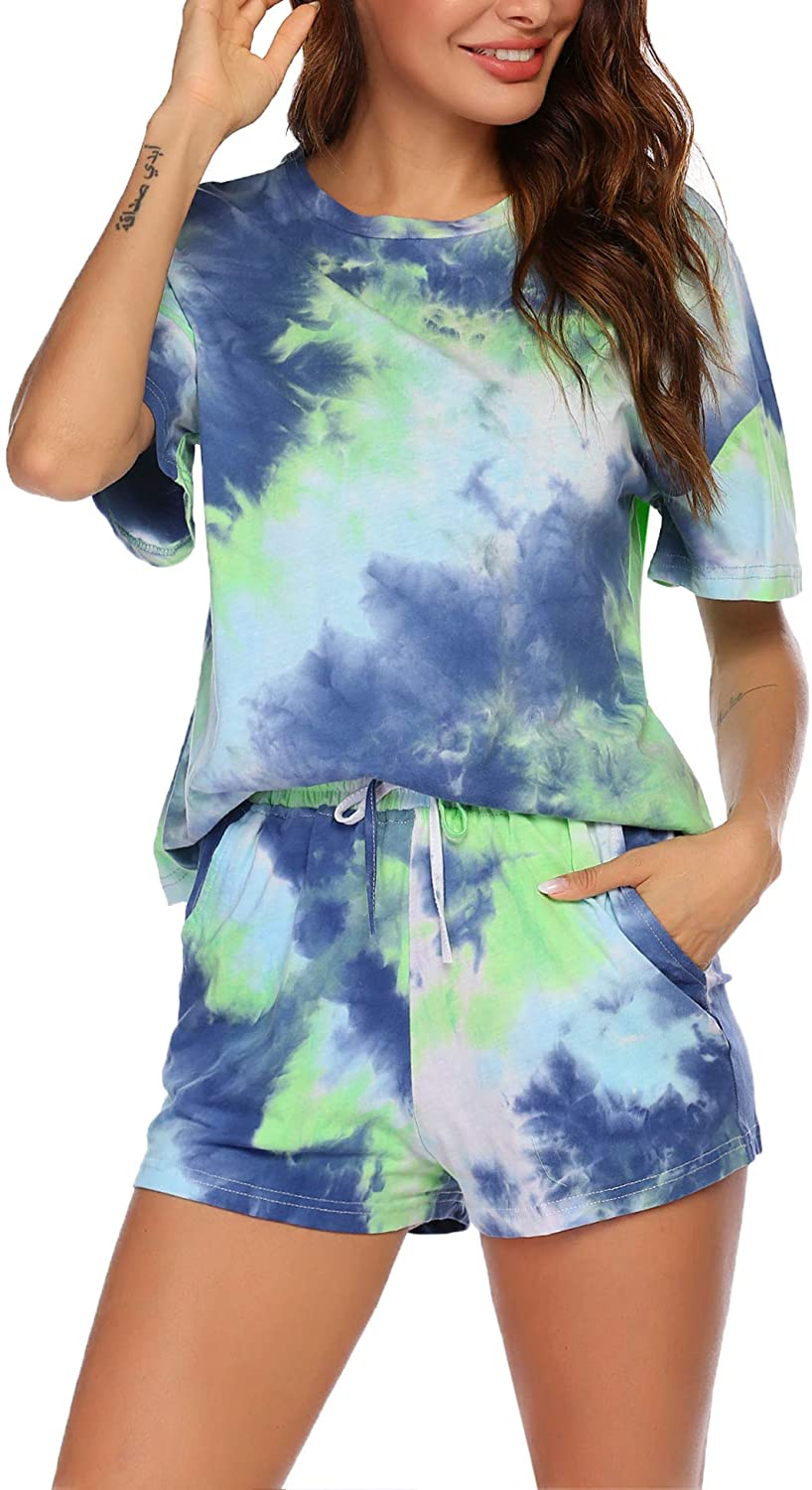 Hotouch Womens Tie Dye Printed Pajamas Set Cotton Lounge Sets Short Sleeve Tops and Shorts 2 Piece Sleepwear Pj Sets