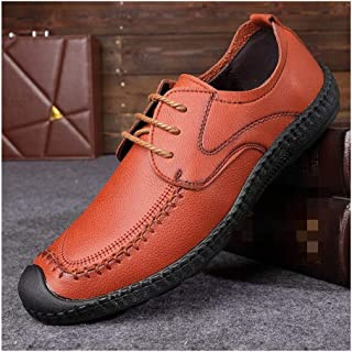 XinQuan Wang Casual Oxfords for Men Loafers Shoes Lace up Microfiber Leather Round Toe Collision Avoidance Toe Stitching Flat Heel Anti-Skid (Color : Brown, Size : 5.5 UK)