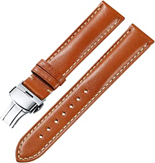 15c77ca0847 iStrap 18 19 20 21 22mm Genuine Leather Watch Band Padded Calfskin Strap  Steel Butterfly Deployant