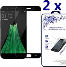 [2-Pack] Full Cover Tempered Glass Screen Protector for Oppo R11 Plus 9H HD Clear Anti-Scratch - Black