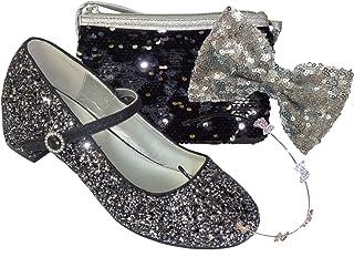 The Sparkle Club Juego de zapatos de fiesta de tacón bajo con purpurina y bolsa de lentejuelas y accesorios para el pelo p...