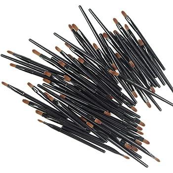 50 Pieces Lip Brushes, Pro Multifunctional Makeup Brush, Lipstick Gloss Wands Applicator Cosmetic Tool Kits, Black