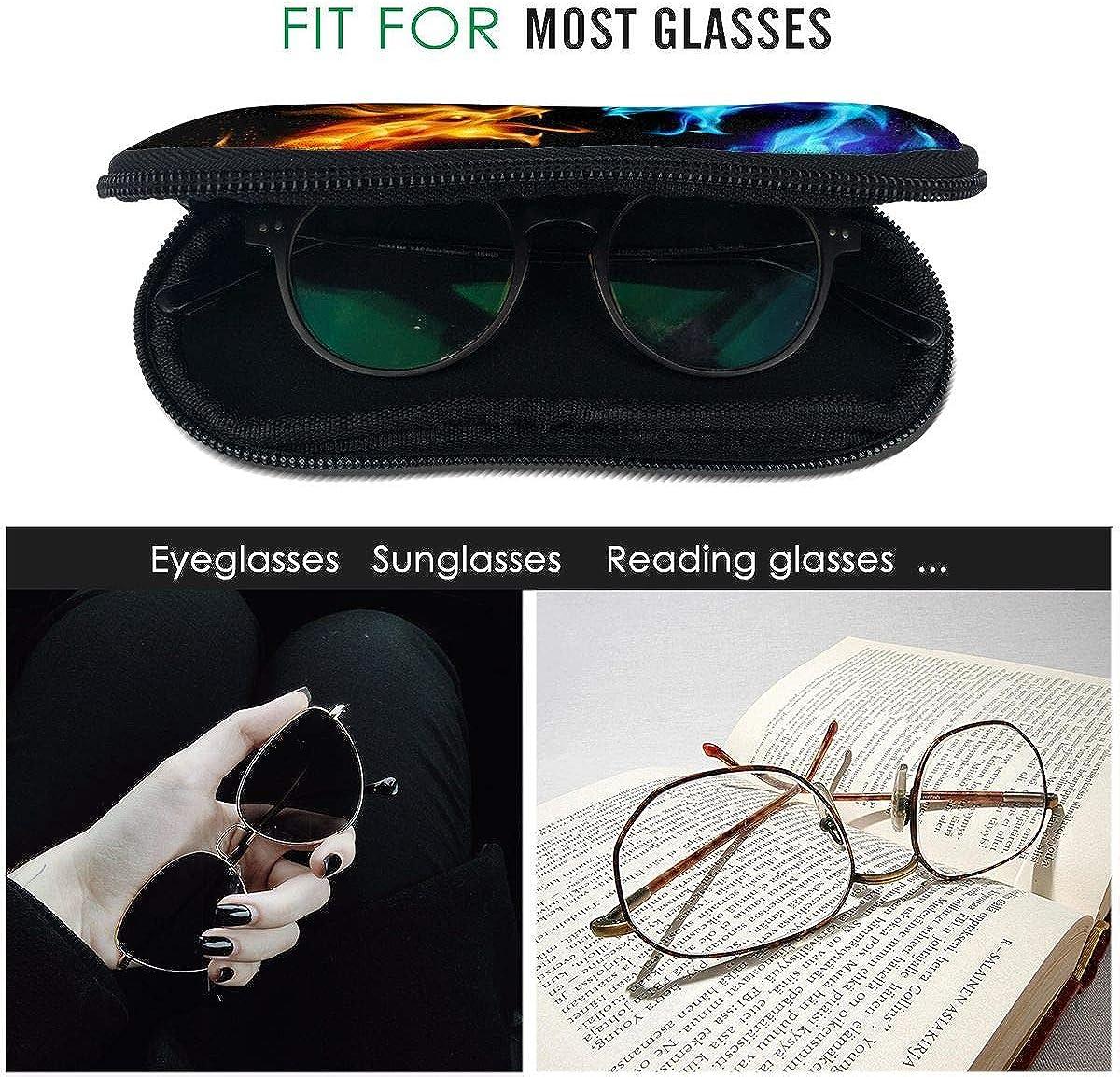Blue Red Fiery Dragon Abstract Sunglasses Soft Case Ultra Light Neoprene Zipper Eyeglass Case With Key Chain