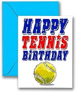3 件装 TENNIS 星星生日贺卡 3 件装 (5x7) Play STRONG 运动生日贺卡 - 非常适合玩家、教练和粉丝生日、礼品和派对! #AllProfitsToHelpKids