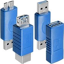 4 Modelos de Adaptadores USB 3.0 , AFUNTA USB Type-A Macho-macho 3.0 , Hembra-hembra 3.0 , USB A hembra a USB B hembra , Macho micro B a Macho USB 3.0 , Conector de Acoplador de Extensión
