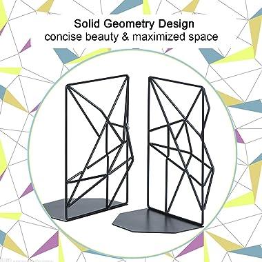 SRIWATANA Bookends Black, Decorative Metal Book Ends Supports for Shelves, Unique Geometric Design(1 Pair/2 Pieces)