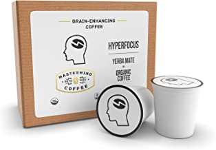 Hyperfocus Single Serve Cups - Brain Enhancing Nootropic Coffee, 100% Organic-Coffee Blended with Yerba Mate - Boosts Mental Clarity, Better Memory & All-day Energy, NO Caffeine Crash! - 12 Count