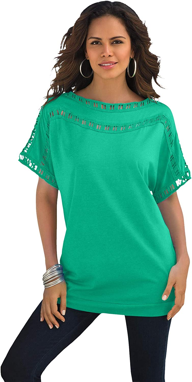 Roamans Women's Plus Size Ladder Stitch Tee Shirt