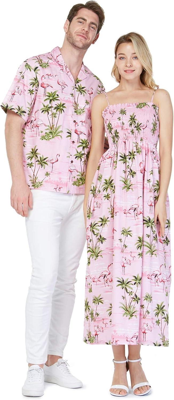 Made in Hawaii Couple Matching Hawaiian Aloha Shirt Maxi Elastic Tank Dress in Pink Flamingos in Blue