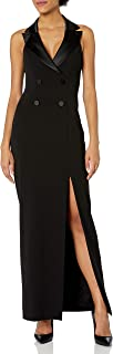 Women's Sleeveless Halter Tuxedo Dress with Button Detail
