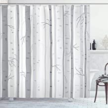 Ambesonne Grey Decor Collection, Birch Trees in Autumn Fall Branches Forest with Soft Light Colors Modern Graphic Print Decor, Polyester Fabric Bathroom Shower Curtain, 84 Inches Extra Long, Ash Gray