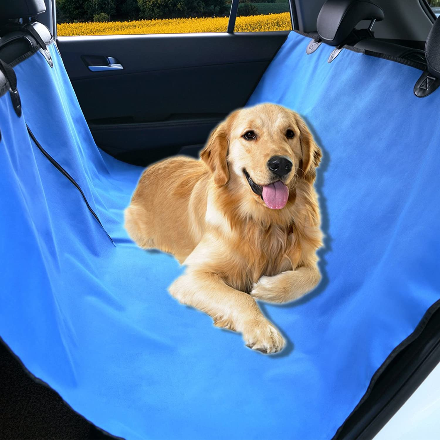 Pet Seat Cover for Car Seats [Upgraded Model] Hammock Style Cover Predects Car Back Seats from Dog Fur, Mud, Scratches by Pet Magasin  New bluee by Pet Magasin