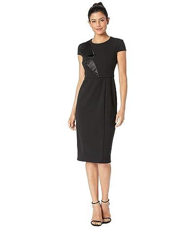 Donna Morgan Crepe Cap Sleeve Sheath Dress w/ Satin Ruffle (Black) Women