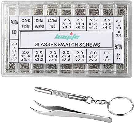 Eyeglass Repair Kit Tool Set by Amtake with Tweezers Screwdriver Micro Screws Nuts Assortments Stainless Steel Screws 1000pcs Use for Glasses and Watches