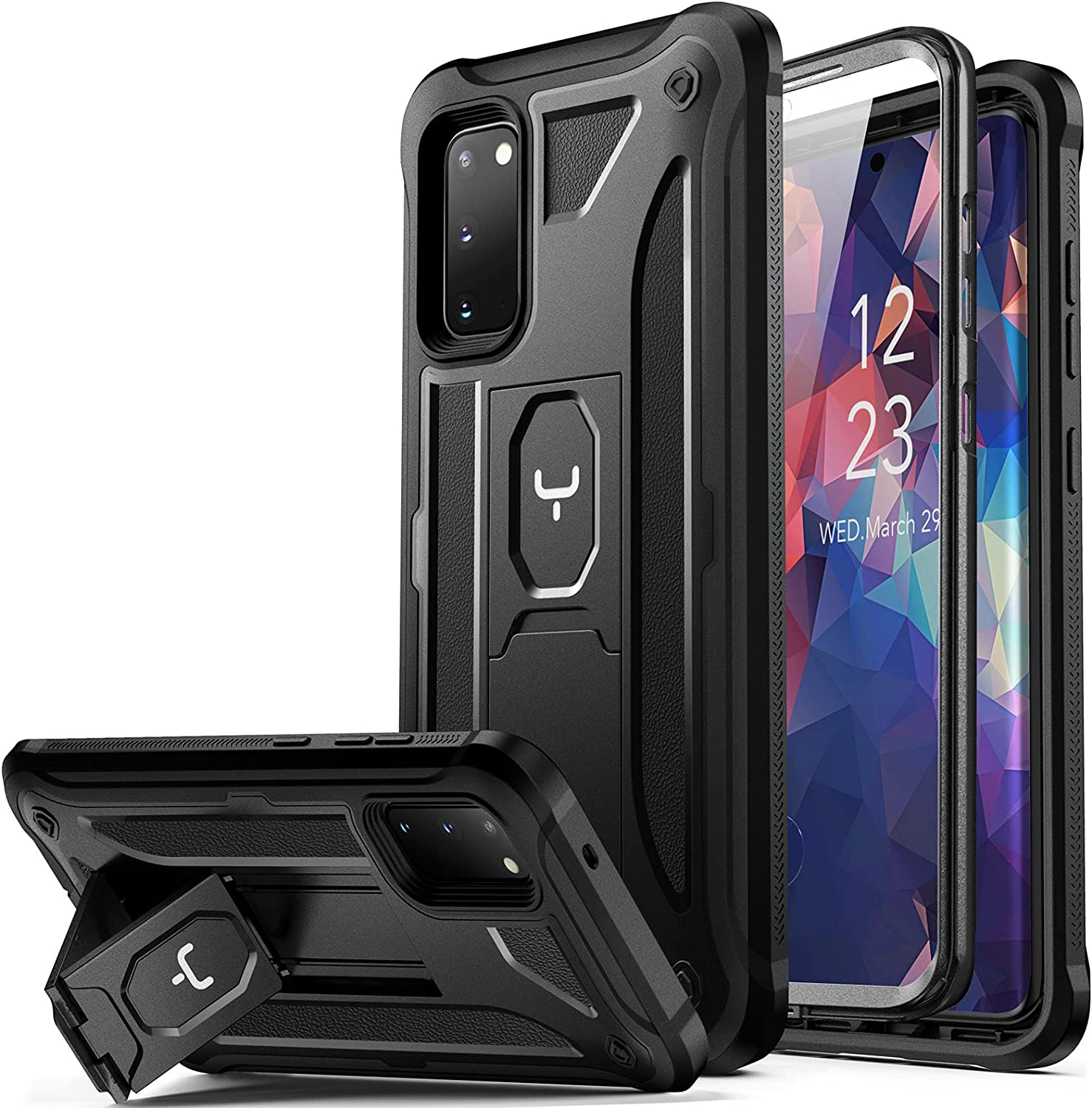 YOUMAKER Designed for Samsung Galaxy S20 5G Case with Built-in Screen Protector and Kickstand Shockproof Case Work with Fingerprint ID Military Grade Drop Tested Cover for S20 6.2 inch-Black
