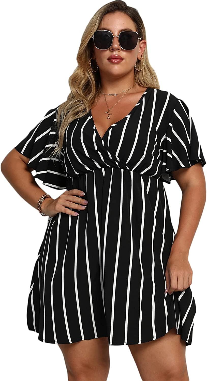 Floerns Women's Plus Size Striped Print Wrap V Neck Short Sleeve A Line Dress