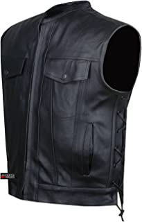 SOA Motorcycle Sons of Anarchy ARMOR Leather Open Collar Club Biker Vest L