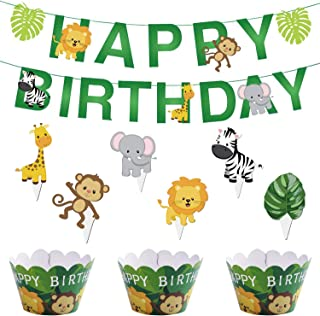 Zoo Animal Happy Birthday Banner Garland Safari Cupcake Toppers Woodland Cupcake Wrappers For Baby Show Theme Party Supplies by Shxstore