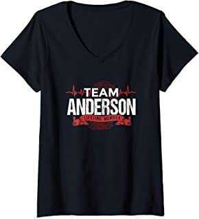 Womens ANDERSON TEAM Family Reunions DNA Heartbeat V-Neck T-Shirt