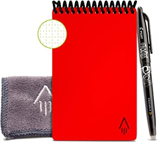 Rocketbook Core Smart Reusable Notebook - A6 Mini (9x14cm) - Red Dot Grid Eco-Friendly Endlessly Reusable Small Note Pad