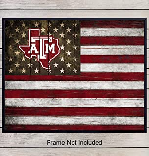Texas A&M Aggie Football Wall Art Print - Patriotic Flag Poster - Unique Home Decor for Dorm Room, Office, Man Cave - Gift for Men, NCAA, NFL Sports Fans - Rustic Shabby Chic 8x10 Photo Unframed