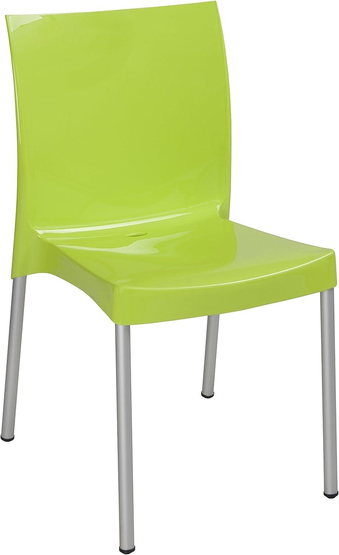 Tensai Nicole Collection Glossy Finish Durable Plastic Single Chair, Lemon