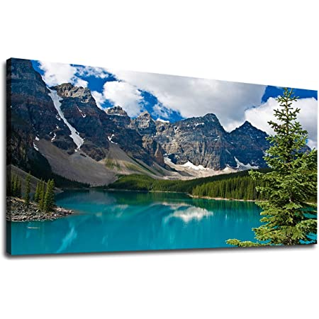 Canvas Wall Art Lake and Mountain Nature Pictures Large Canvas Artwork Moraine Lake Landscape Contemporary Wall Art Decor for Living Room Bedroom Decoration 20 x 40