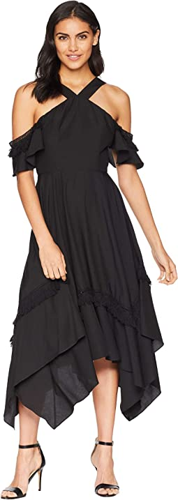 Handkerchief Hem Dress with Tassel Trim