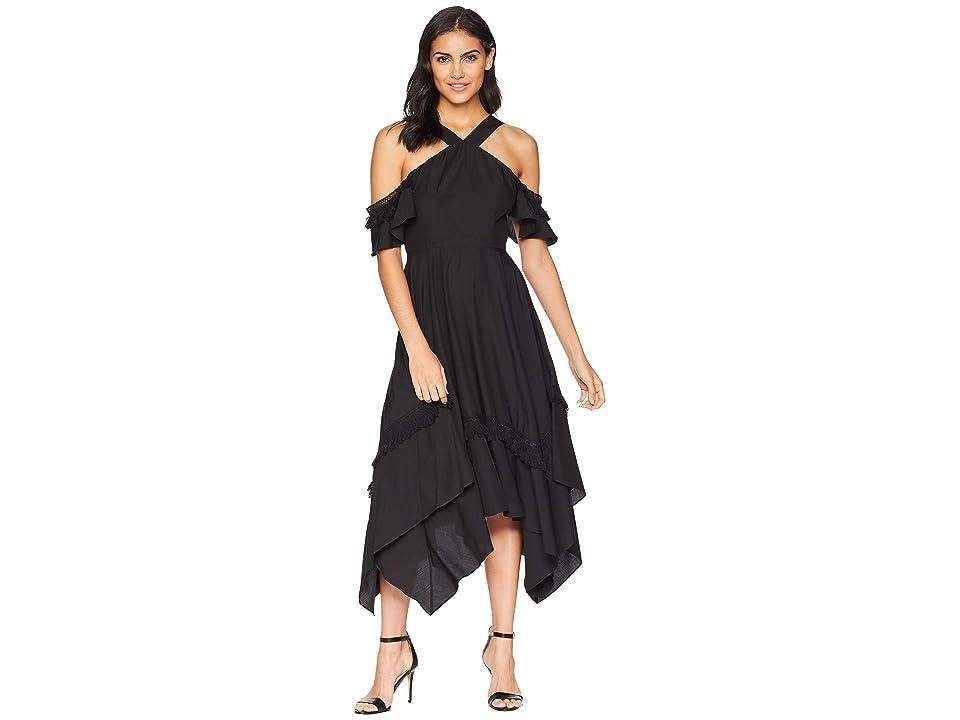 BCBGMAXAZRIA Handkerchief Hem Dress with Tassel Trim (Black) Women