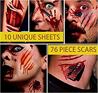 Halloween Zombie Makeup Scar Tattoos Stickers - Man Woman Temporary Tattoos Halloween Blood Costume Decorations Party Favors Supplies Funny Fake Decorfor Kids Adults Cosplay 10 Sheets 76 Pics